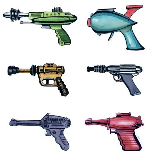 """Ray Guns """"The ray gun is but one invention that, in the optimistic futurism of the early-to-mid 20th century, seemed to be just around the corner, like personal jet packs, food in pill form. Read more: http://www.denofgeek.com/movies/17458/a-celebration-of-the-sci-fi-ray-gun#ixzz2T5C9iMCz"""""""