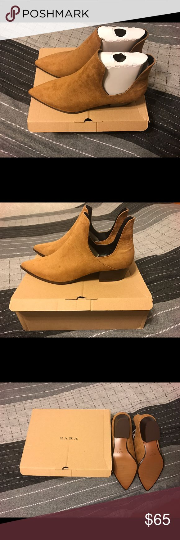 Zara open ankle boots with heel Zara open ankle boots with heel. Brand new, never worn, tags still attached, in original box & packaging. US size 9, Euro size 40. Color: Leather. Zara Shoes Ankle Boots & Booties