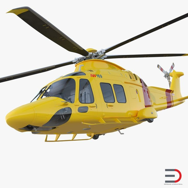 3D Helicopter AgustaWestland AW169 Rigged model