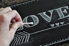 how to write beautifully on a chalkboard with one simple trick! easy peasy chalkboard art {tutorial} | Little Birdie Secrets