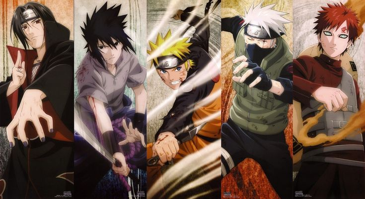 Naruto Shippuden - Itachi, Sasuke, Naruto, Kakashi, and Gaara. The cool guys!