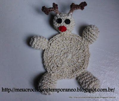Meu Crochê Contemporâneo: Porta Copos Rena de Papai Noel