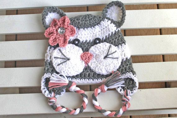Crochet Cat Hat Girl Kitty Hat Kids Hats by JillyBeaniesBoutique