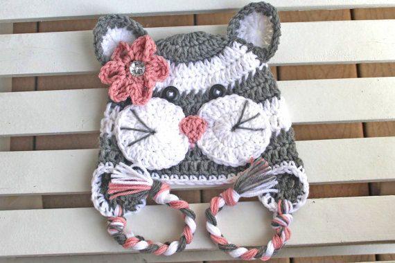 Crochet Cat Hat Girl Kitty Hat Kids Hats by JillyBeaniesBoutique