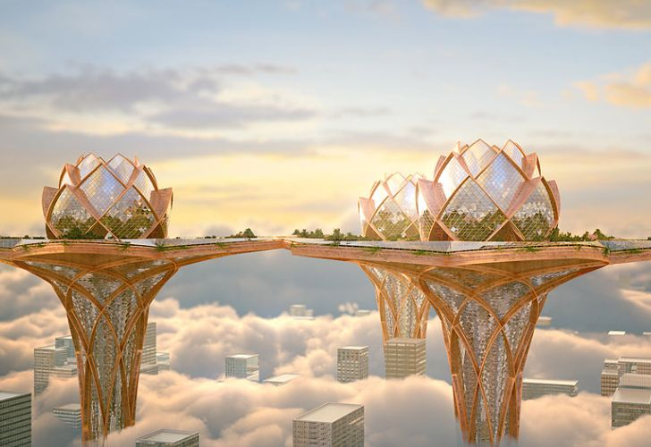 City in the Sky: Futuristic Flower Towers Soar Above Modern Me...