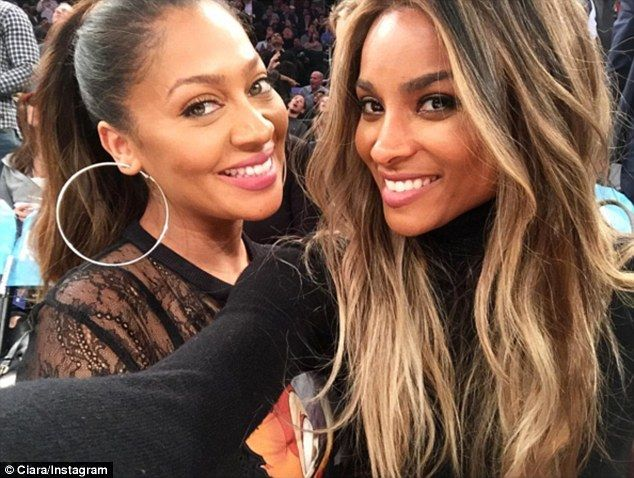 Having a blast: The singer watched the game with LaLa Anthony whose husband Carmelo  is on the Knicks