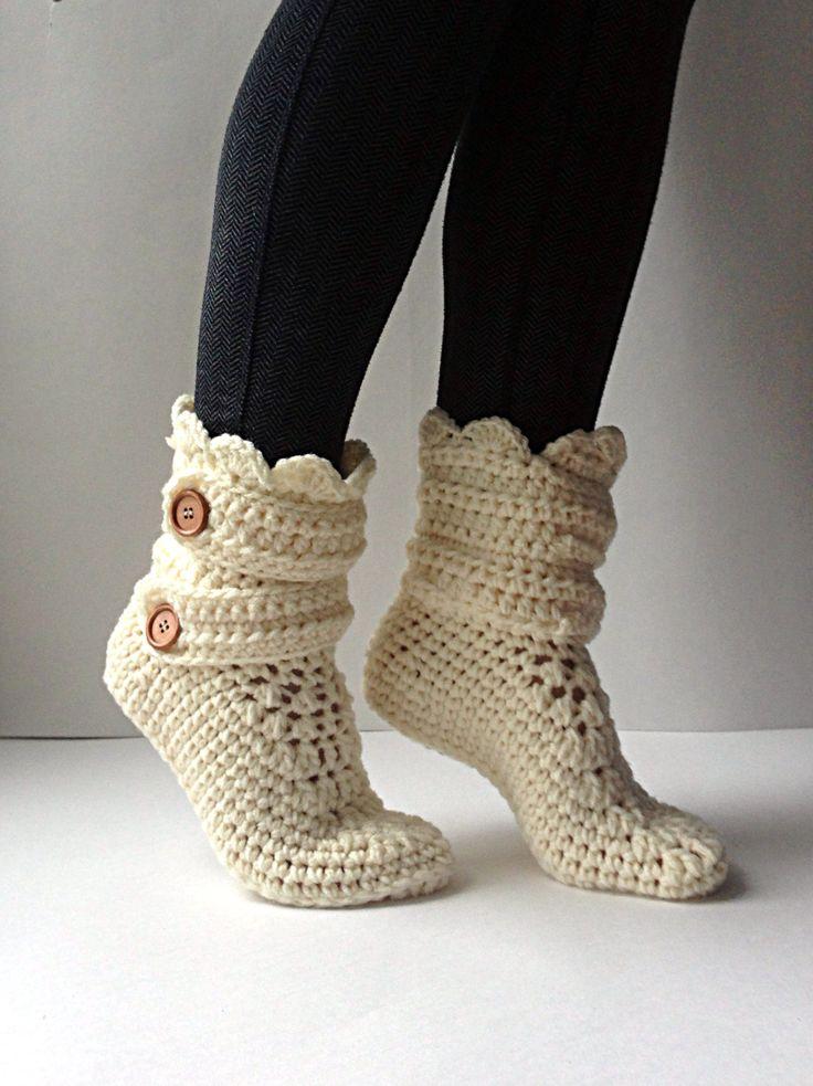 Women's Crochet Cream Slipper Boots, Crochet Slippers, Crochet Booties, Crochet House Shoes, Crochet Winter Boots, Beige Slipper Boots by StardustStyle on Etsy