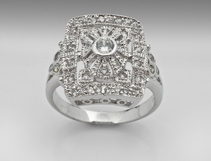 Sterling Silver Ring, Vintage Inspired with Cz