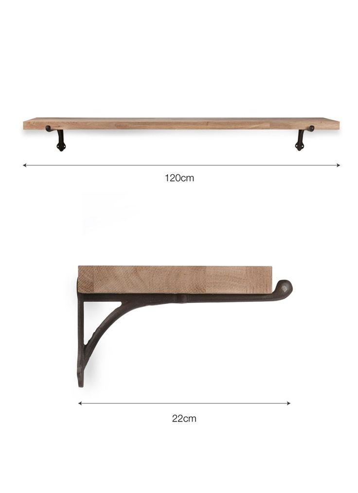 Cast Iron Brackets and Oak Shelf Large
