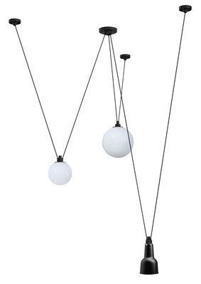 Suspension Acrobate N°325 / Lampe Gras - 3 abat-jours verre & métal Noir / Verre blanc - DCW éditions - Décoration et mobilier design avec Made in Design