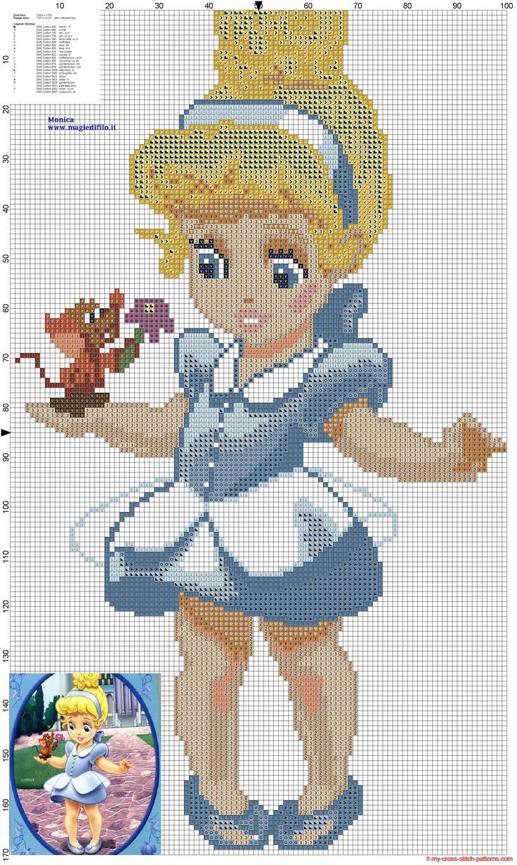 Petite princesse Cendrillon grille point de croix - 2186x3656 - 3726057