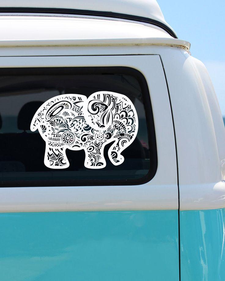 Elephant zentangle vinyl window decal car sticker car decal by brokegirlgraphics on etsy