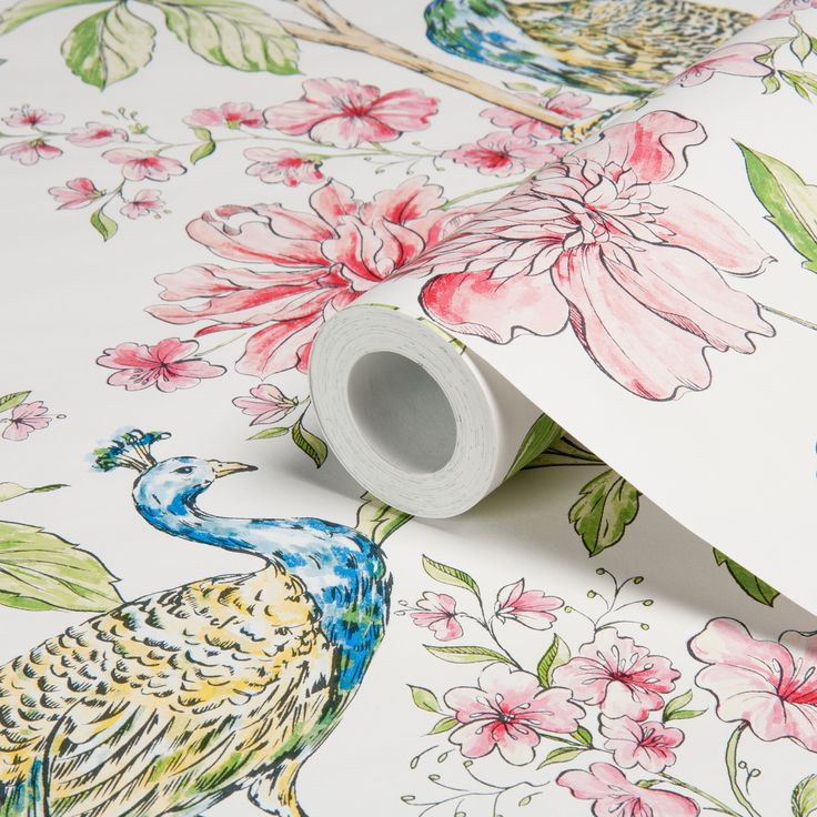 Hibiscus white wallpaper departments diy at b q for Garden rooms b q