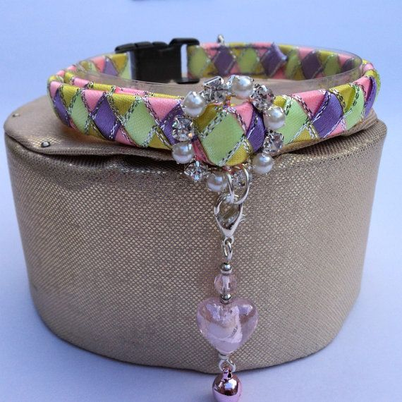 Fancy Cat Collar with Diamante Buckle and Charm by TheGlamorousCat, $18.50