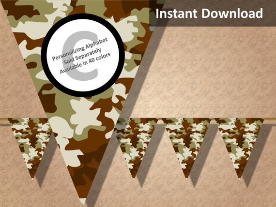 Brown camo party banner! Perfect for a hunting, military, camping or lazer tag party! Find more printable camouflage party decorations at CameoPartyDesigns.etsy.com #camoparty #camouflageparty #partydecorations