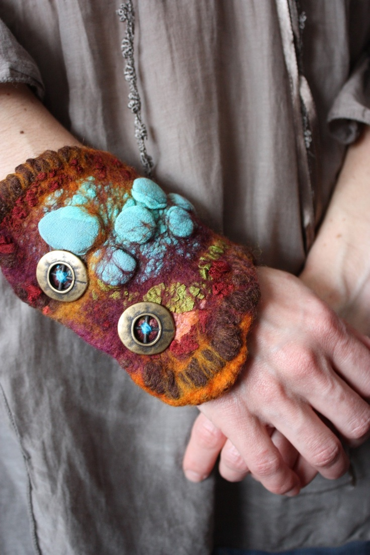 ILLUSION Textile Cuff Bracelet Wristband Turquoise Green Brown red Nuno Wet Felt with Merino Wool Silk yarn and Metal Snaps metallic brass buttons fingerless glove hippie magical collage