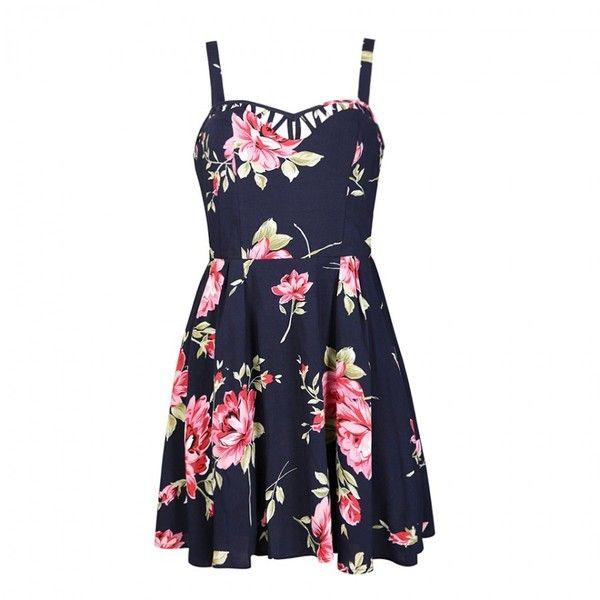 Ally Fashion Summer blossom skater dress found on Polyvore featuring dresses, vestido, print, flower print dress, flower pattern dress, print dress, flower dress y summer day dresses