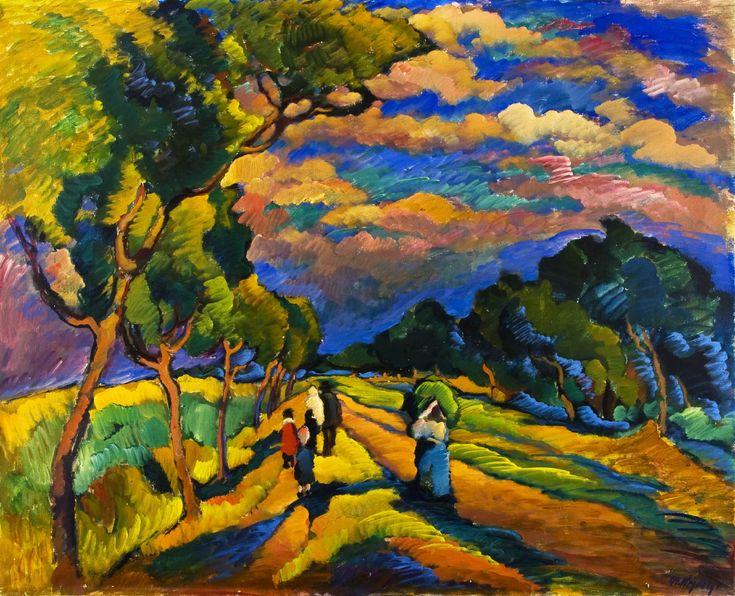 OTAKAR NEJEDLÝ (1883 - 1957) Poutníci 1916 olej na plátně, 109,5 x 134 cm