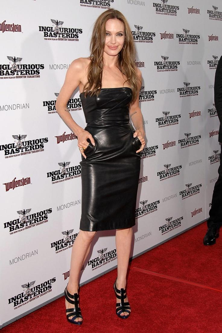 leather dress on jolie