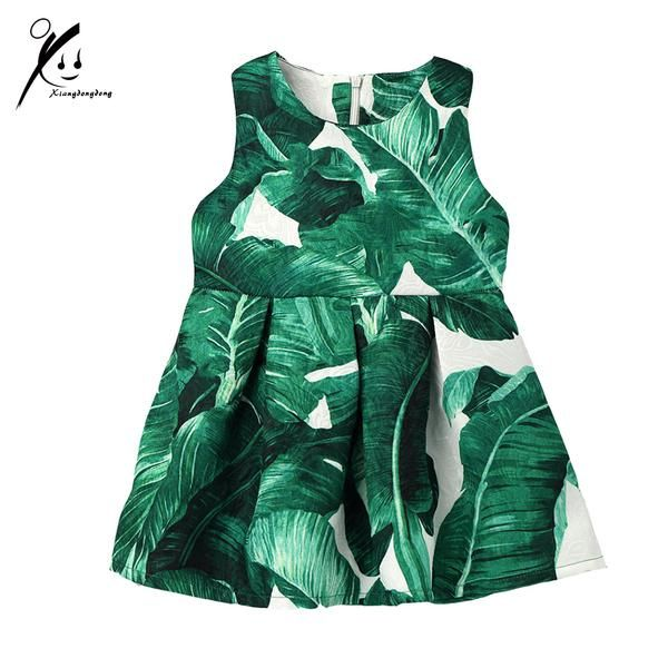 Little Girls Banana Leaf Pattern Jacquard Dress New Arrilvas 2017 Europe Spring/Autumn Baby Girl Fashion