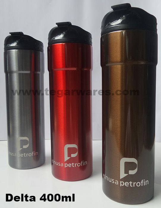Delta steel tumbler Size: 23.2 x 6.5 x 6.5cm Capacity: 400ml. Color: Brown, Gold, Grey, Red, An Elegant design, very exclusive, a good choices for oil company, oil fields, or mining industry merchandises.