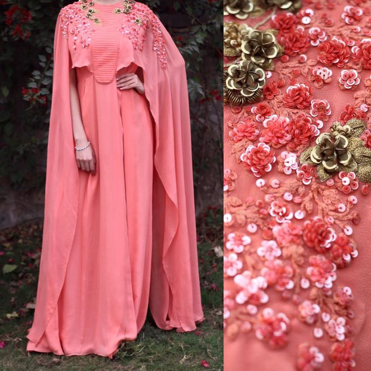 The lush peach cape gown with sequined & handcrafted metal florets.