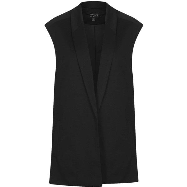TOPSHOP Long Line Zip Waistcoat ($100) ❤ liked on Polyvore featuring outerwear, vests, jackets, tops, topshop, black, waistcoat vest, zip vest, longline vest and long line vest