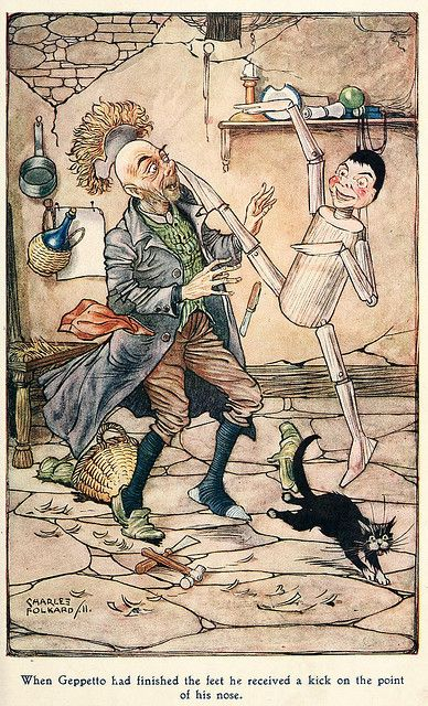 Vintage Pinocchio Kicks Geppetto Illustration by Charles Folkard (1911)