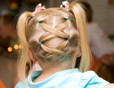 Upside down lattice ponytails.