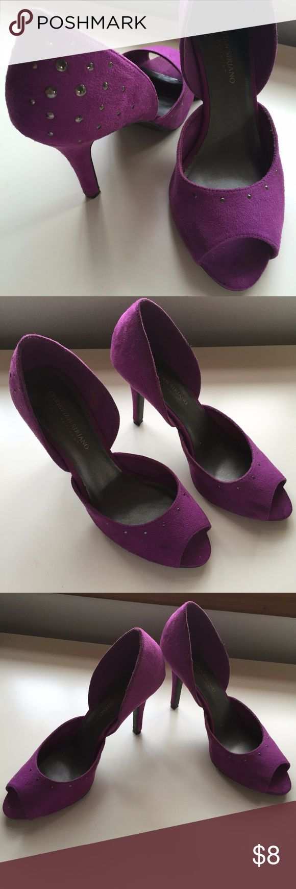 Christian Siriano Purple High Heels 9.5M Christian Siriano for Payless Purple High Heels 9.5M - worn once. Small stain on right shoe (as seen in pics), but could easily be touched up with suede shoe cleaner. Christian Siriano Shoes Heels