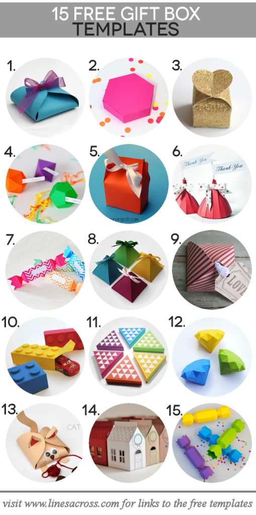 15 paper gift boxes to create with templates http://www.linesacross.com/2013/11/15-paper-gift-boxes-with-free-templates.html/