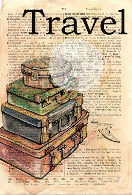 Travel Mixed Media Drawing of vintage suitcases on Distressed, Dictionary Page - available for purchase at www.etsy.com/shop/flyingshoes - flying shoes art studio
