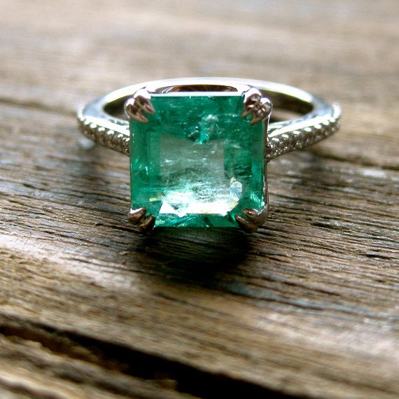 Emerald & Diamond Engagement Ring in 18K White Gold with Scroll and Double Claw Prong Setting - Reserved for MANDIE - Deposit