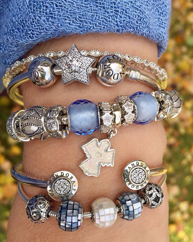 Pandora bracelets with blue, white and silver