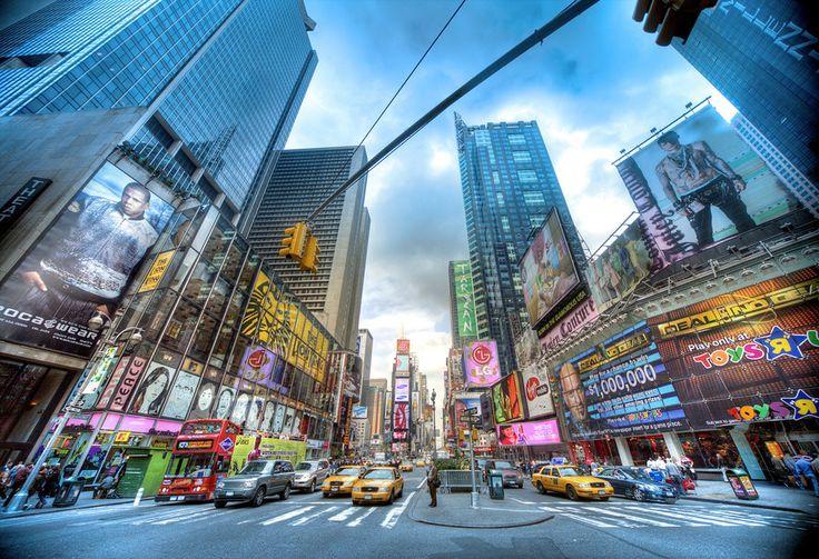 Nueva york, rascacielos, gente, libertad, coches wallpaper