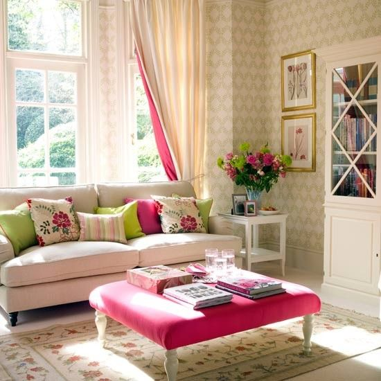 Image detail for -Crisp white living room with fuschia accents | Traditional living room ... fresh and bright