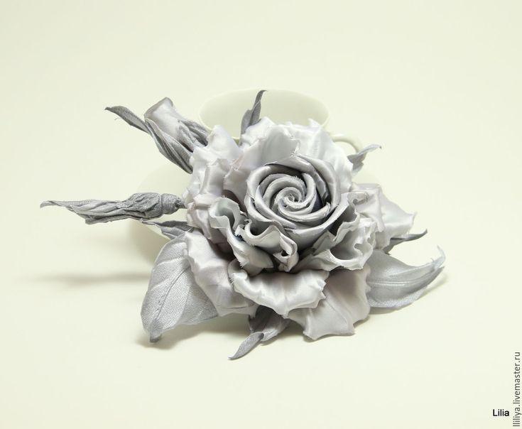 """Купить Цветы из шелка. Роза с бутонами """"Черно-белое кино"""" - серый, lazarevaliliya, flowers, handmade"""