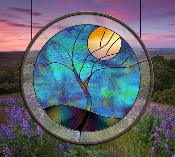 "Stained Glass Window ""Flowing Tree Yellow Moon"" in the round leaded glass panel"