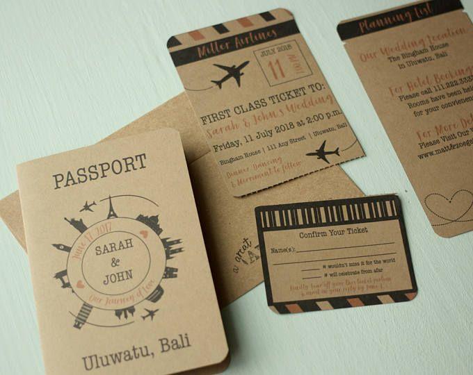 Rustic Travel Themed Invitation Suite Printed Wedding Invites With Rsv Passport Invitations Wedding Invitations Rustic Vintage Passport Wedding Invitations