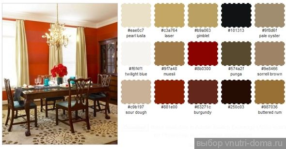 Красные оттенки в гостиной