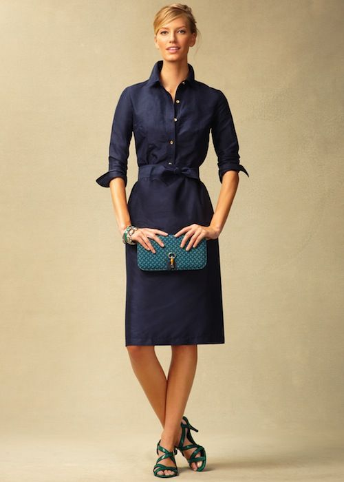 Talbots silk doupioni shirtdress. I love this, especially b/c the buttons do not go all the way down the skirt section of the dress (I totally have a problem with those that do).