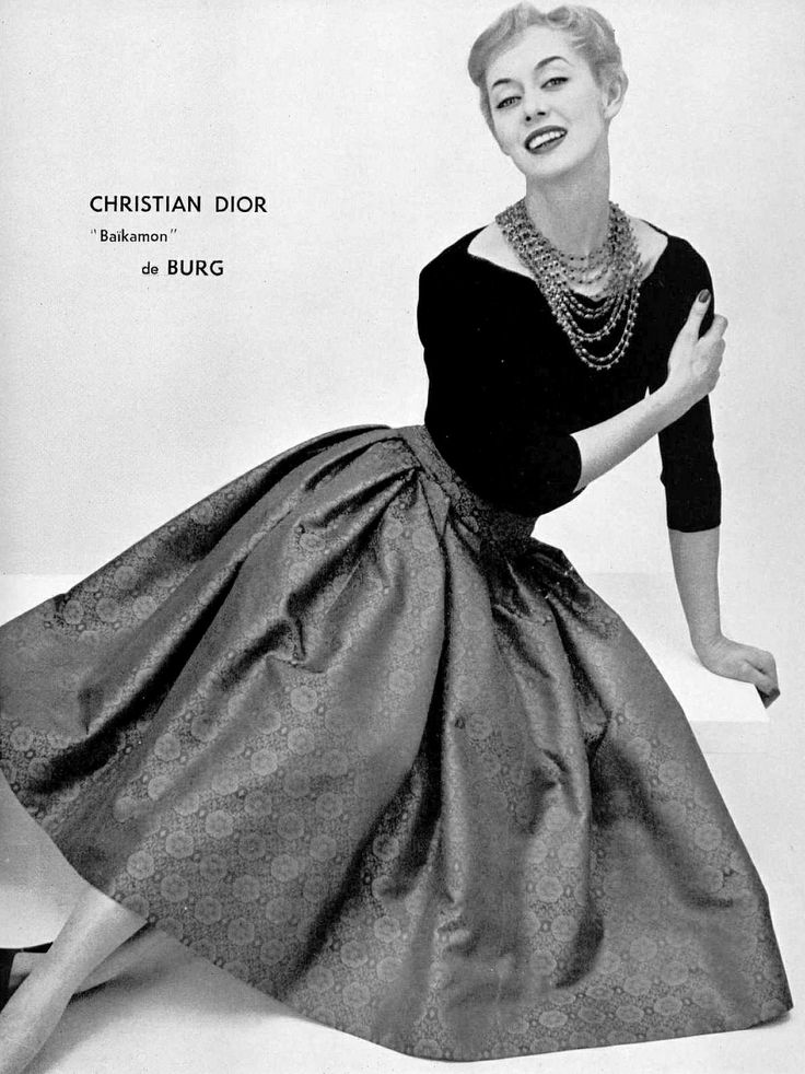 Ellinor in Japanese print silk skirt and black boat-neck sweater by Christian Dior, photo by Pottier, 1955