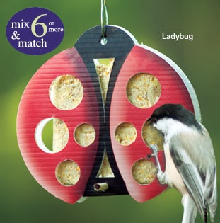 This one-time-use suet feeder comes in designs including ladybug and butterfly, at Doctors Foster and SmithDoctors Foster, Gardens Decor, Animal Kingdom, One Time Us Suet, Include Ladybugs, Birds House, Design Include, Feathers Friends, Crafty Ideas