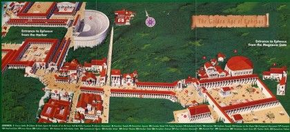 "Map (""The Golden Age of Ephesus"") with reconstructions, from http://www.dailyistanbultours.com"