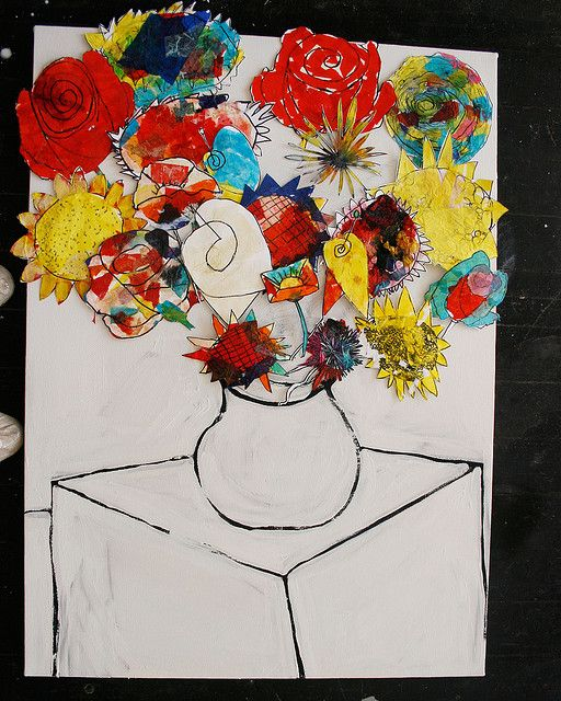Teacher Gift: I love the idea of each child contributing a flower they've each painted and combining it in one piece as gift.