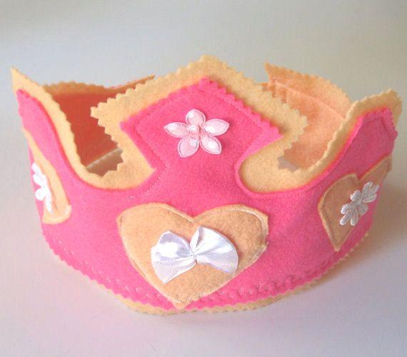 Pink Fairy Princesss Felt Crown Waldorf Toy by MelsCreativeWishes, $18.50