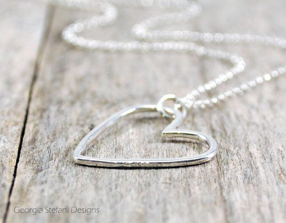 Large Sterling Silver Open Heart Necklace. Promise necklace. Love charm. Bridesmaid Necklace.Mother Daughter Necklace. Valentines Day Gift