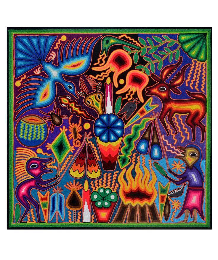 Arte huichol | Tablas de estambre 60 x 60 cms | Pintura indigena | Cuadros de estambre