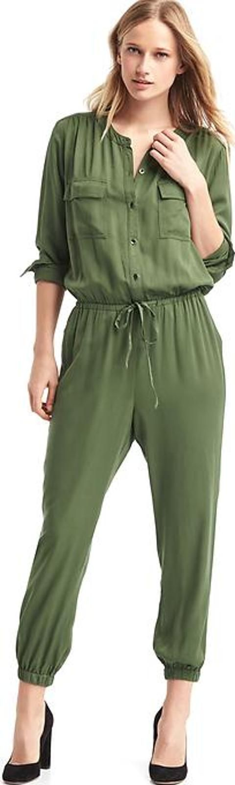 ap Modal Utility Drawstring Jumpsuit Jungle green. Gap Womens Jumpsuits Playsuits Soft modal weave. Long sleeves with button cuffs. Round neckline. Button front. Button flap patch pockets at chest. Front slant pockets. Elasticized waist with drawstring ties.#Gap #Green #Playsuit #Women #fashion #obsessory #fashion #lifestyle #style #myobsession #ss17 #springsummer #summerfashion #womenfashion #style #luxury #luxuryfashion #lifestyle #trends #trendsetter
