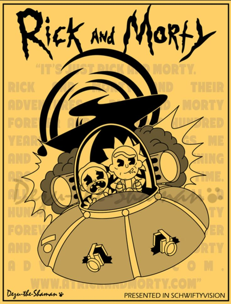 Rick and Morty- Poster reminds me of Bendy and the Ink Machine